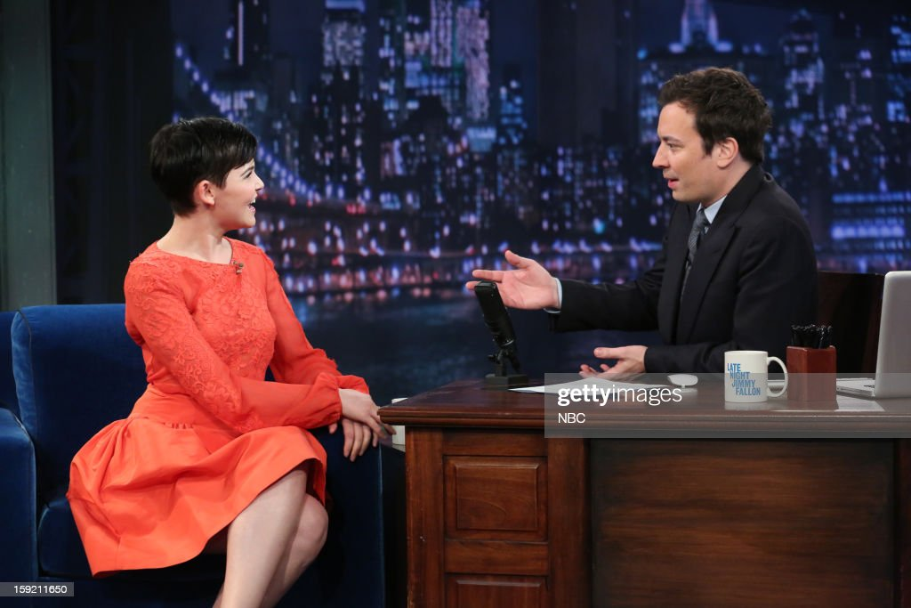 <a gi-track='captionPersonalityLinkClicked' href=/galleries/search?phrase=Ginnifer+Goodwin&family=editorial&specificpeople=215039 ng-click='$event.stopPropagation()'>Ginnifer Goodwin</a> during an interview with host <a gi-track='captionPersonalityLinkClicked' href=/galleries/search?phrase=Jimmy+Fallon&family=editorial&specificpeople=171520 ng-click='$event.stopPropagation()'>Jimmy Fallon</a> on January 9, 2013 --