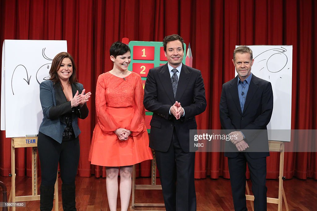 Ginnifer Goodwin, Rachael Ray, William H. Macy, and host Jimmy Fallon during a skit on January 9, 2013 --