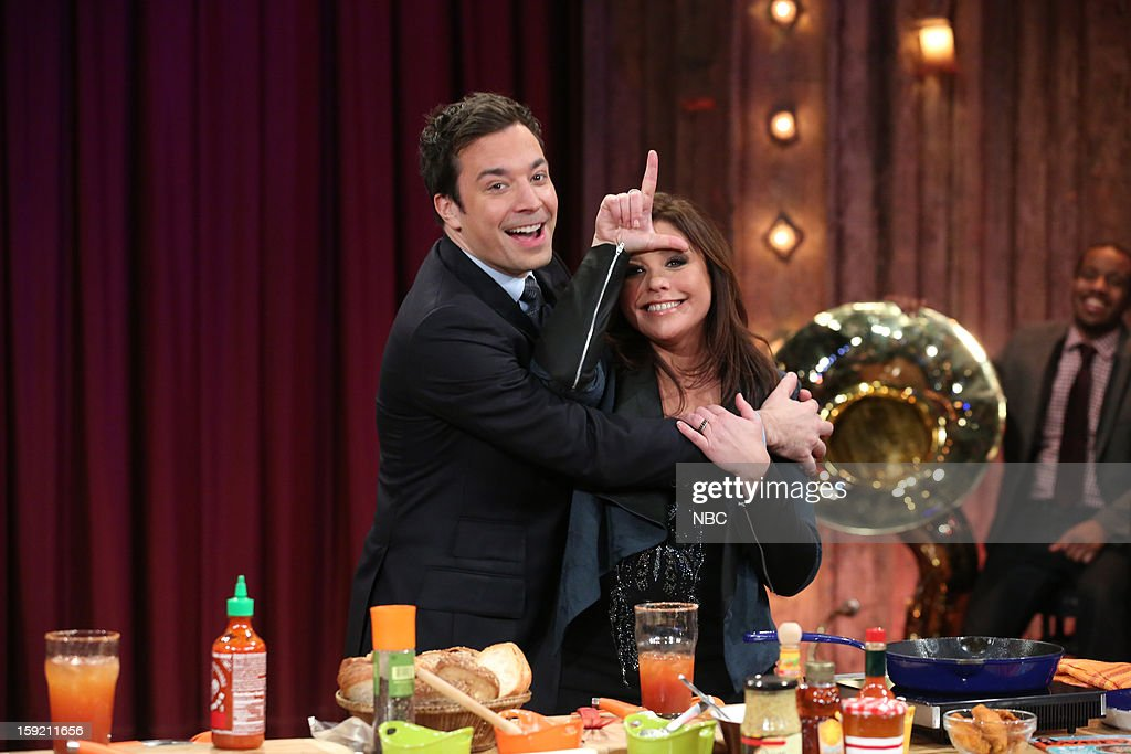 Host Jimmy Fallon during a skit with Rachael Ray on January 9, 2013 --