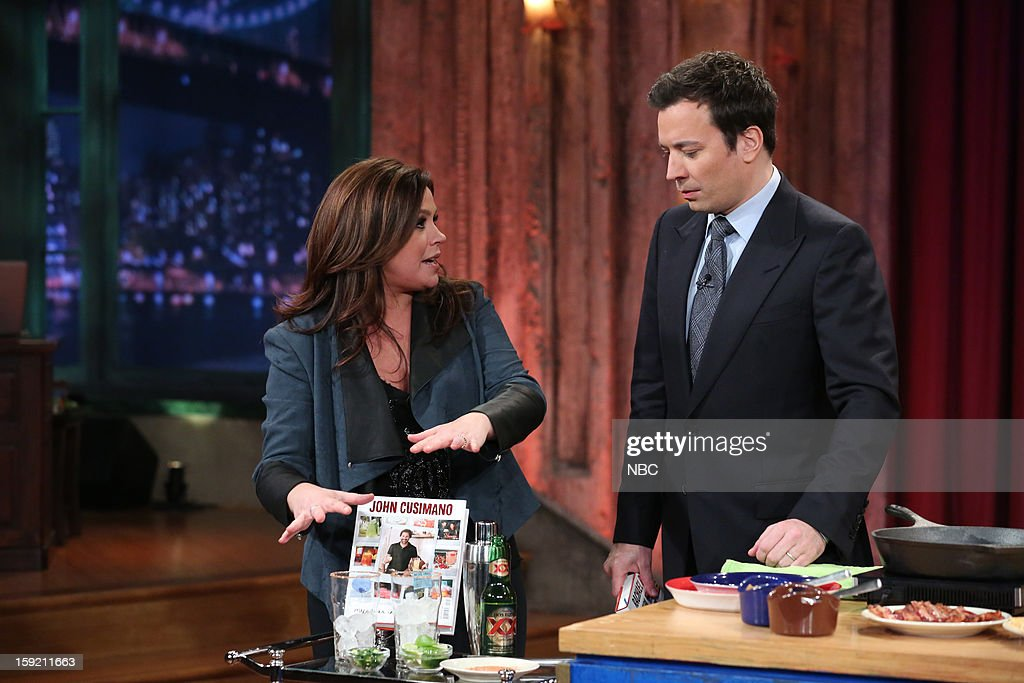 <a gi-track='captionPersonalityLinkClicked' href=/galleries/search?phrase=Rachael+Ray&family=editorial&specificpeople=542712 ng-click='$event.stopPropagation()'>Rachael Ray</a> during a skit with host <a gi-track='captionPersonalityLinkClicked' href=/galleries/search?phrase=Jimmy+Fallon&family=editorial&specificpeople=171520 ng-click='$event.stopPropagation()'>Jimmy Fallon</a> on January 9, 2013 --