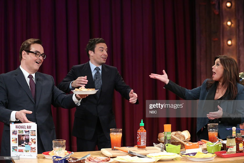 Steve Higgins during a skit with host <a gi-track='captionPersonalityLinkClicked' href=/galleries/search?phrase=Jimmy+Fallon&family=editorial&specificpeople=171520 ng-click='$event.stopPropagation()'>Jimmy Fallon</a> and <a gi-track='captionPersonalityLinkClicked' href=/galleries/search?phrase=Rachael+Ray&family=editorial&specificpeople=542712 ng-click='$event.stopPropagation()'>Rachael Ray</a> on January 9, 2013 --
