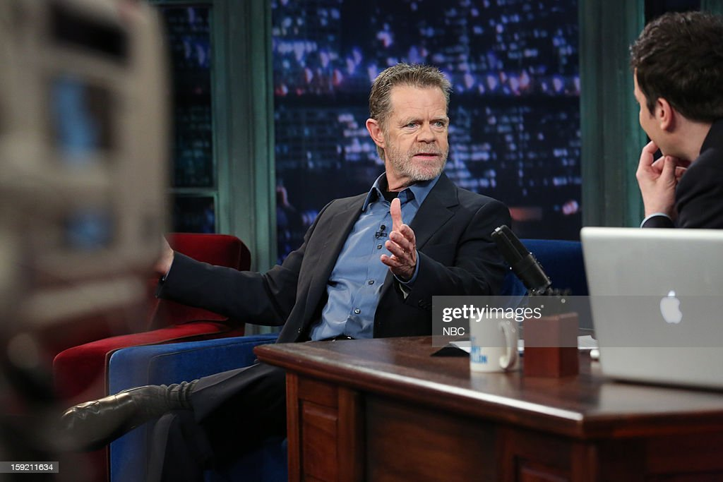 <a gi-track='captionPersonalityLinkClicked' href=/galleries/search?phrase=William+H.+Macy&family=editorial&specificpeople=202170 ng-click='$event.stopPropagation()'>William H. Macy</a> during an interview with host <a gi-track='captionPersonalityLinkClicked' href=/galleries/search?phrase=Jimmy+Fallon&family=editorial&specificpeople=171520 ng-click='$event.stopPropagation()'>Jimmy Fallon</a> on January 9, 2013 --