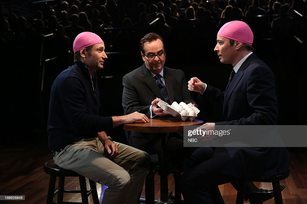 David Duchovny, announcer Steve Higgins, host Jimmy Fallon during a skit on January 11, 2013 --