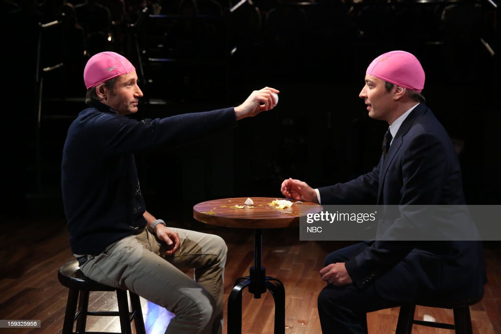 David Duchovny with host Jimmy Fallon during a skit on January 11, 2013 --