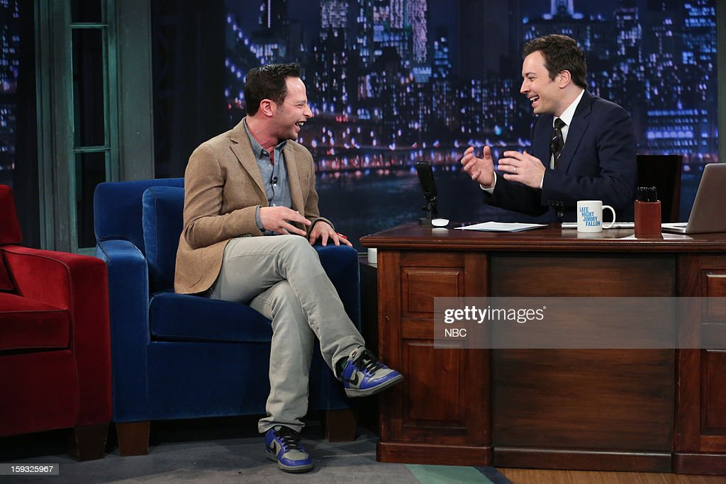 <a gi-track='captionPersonalityLinkClicked' href=/galleries/search?phrase=Nick+Kroll&family=editorial&specificpeople=4432339 ng-click='$event.stopPropagation()'>Nick Kroll</a> during an interview with host <a gi-track='captionPersonalityLinkClicked' href=/galleries/search?phrase=Jimmy+Fallon&family=editorial&specificpeople=171520 ng-click='$event.stopPropagation()'>Jimmy Fallon</a> on January 11, 2013 --