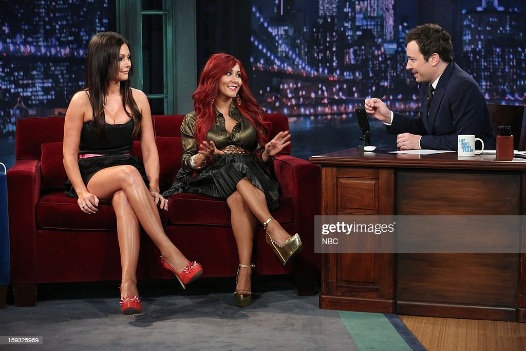 Snooki, JWoww during an interview with host <a gi-track='captionPersonalityLinkClicked' href=/galleries/search?phrase=Jimmy+Fallon&family=editorial&specificpeople=171520 ng-click='$event.stopPropagation()'>Jimmy Fallon</a> on January 11, 2013 --