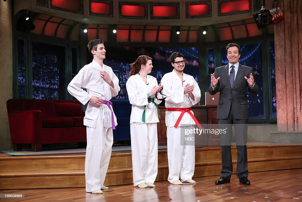 Contestants during a skit with host <a gi-track='captionPersonalityLinkClicked' href=/galleries/search?phrase=Jimmy+Fallon&family=editorial&specificpeople=171520 ng-click='$event.stopPropagation()'>Jimmy Fallon</a> on January 14, 2013 --