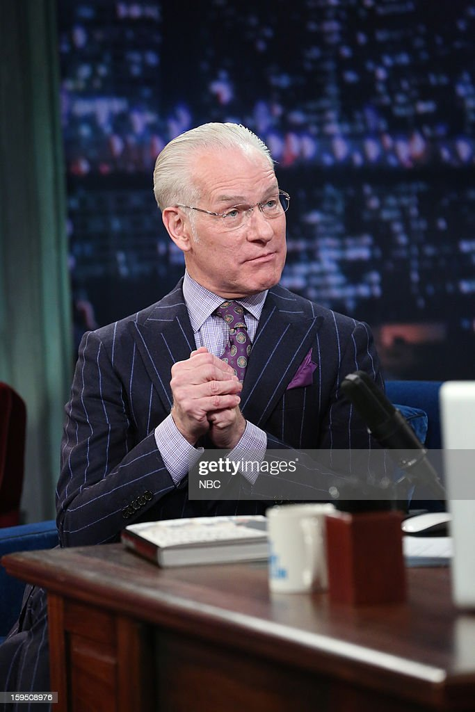 Fashion consultant <a gi-track='captionPersonalityLinkClicked' href=/galleries/search?phrase=Tim+Gunn&family=editorial&specificpeople=696109 ng-click='$event.stopPropagation()'>Tim Gunn</a> during an interview on January 14,2013 --