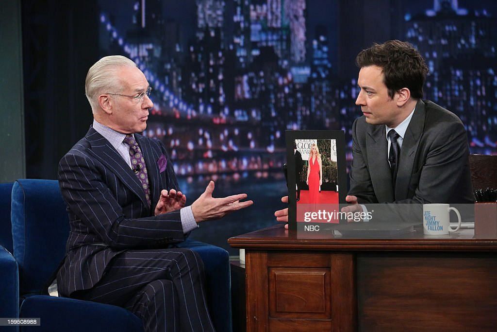 Fashion consultant <a gi-track='captionPersonalityLinkClicked' href=/galleries/search?phrase=Tim+Gunn&family=editorial&specificpeople=696109 ng-click='$event.stopPropagation()'>Tim Gunn</a> during an interview with host <a gi-track='captionPersonalityLinkClicked' href=/galleries/search?phrase=Jimmy+Fallon&family=editorial&specificpeople=171520 ng-click='$event.stopPropagation()'>Jimmy Fallon</a> on January 14, 2013 --