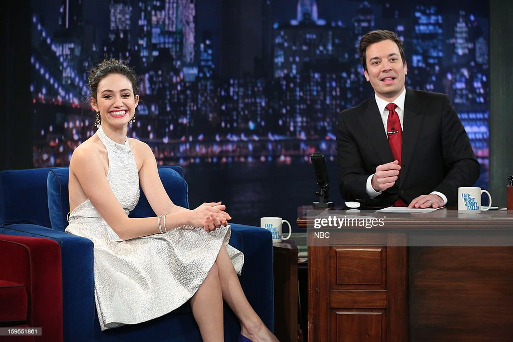 <a gi-track='captionPersonalityLinkClicked' href=/galleries/search?phrase=Emmy+Rossum&family=editorial&specificpeople=202563 ng-click='$event.stopPropagation()'>Emmy Rossum</a> during an interview with host <a gi-track='captionPersonalityLinkClicked' href=/galleries/search?phrase=Jimmy+Fallon&family=editorial&specificpeople=171520 ng-click='$event.stopPropagation()'>Jimmy Fallon</a> on January 15, 2013 --