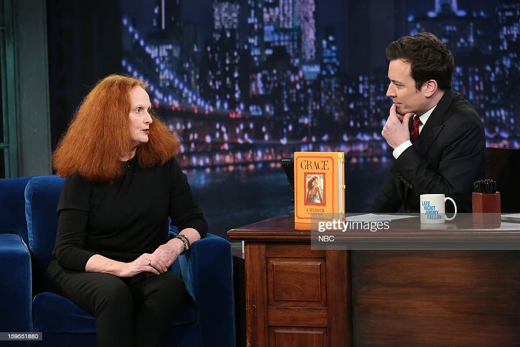 <a gi-track='captionPersonalityLinkClicked' href=/galleries/search?phrase=Grace+Coddington&family=editorial&specificpeople=1706831 ng-click='$event.stopPropagation()'>Grace Coddington</a> during an interview with host <a gi-track='captionPersonalityLinkClicked' href=/galleries/search?phrase=Jimmy+Fallon&family=editorial&specificpeople=171520 ng-click='$event.stopPropagation()'>Jimmy Fallon</a> on January 15, 2013 --