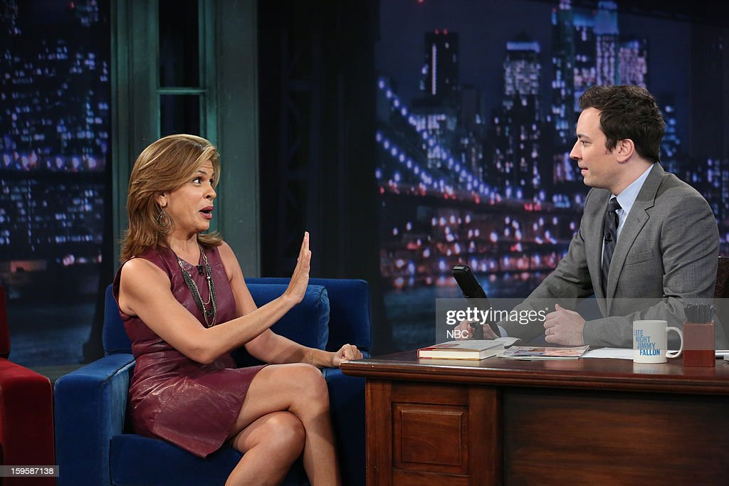 <a gi-track='captionPersonalityLinkClicked' href=/galleries/search?phrase=Hoda+Kotb&family=editorial&specificpeople=2338013 ng-click='$event.stopPropagation()'>Hoda Kotb</a> during an interview with host <a gi-track='captionPersonalityLinkClicked' href=/galleries/search?phrase=Jimmy+Fallon&family=editorial&specificpeople=171520 ng-click='$event.stopPropagation()'>Jimmy Fallon</a> on January 16, 2012 --