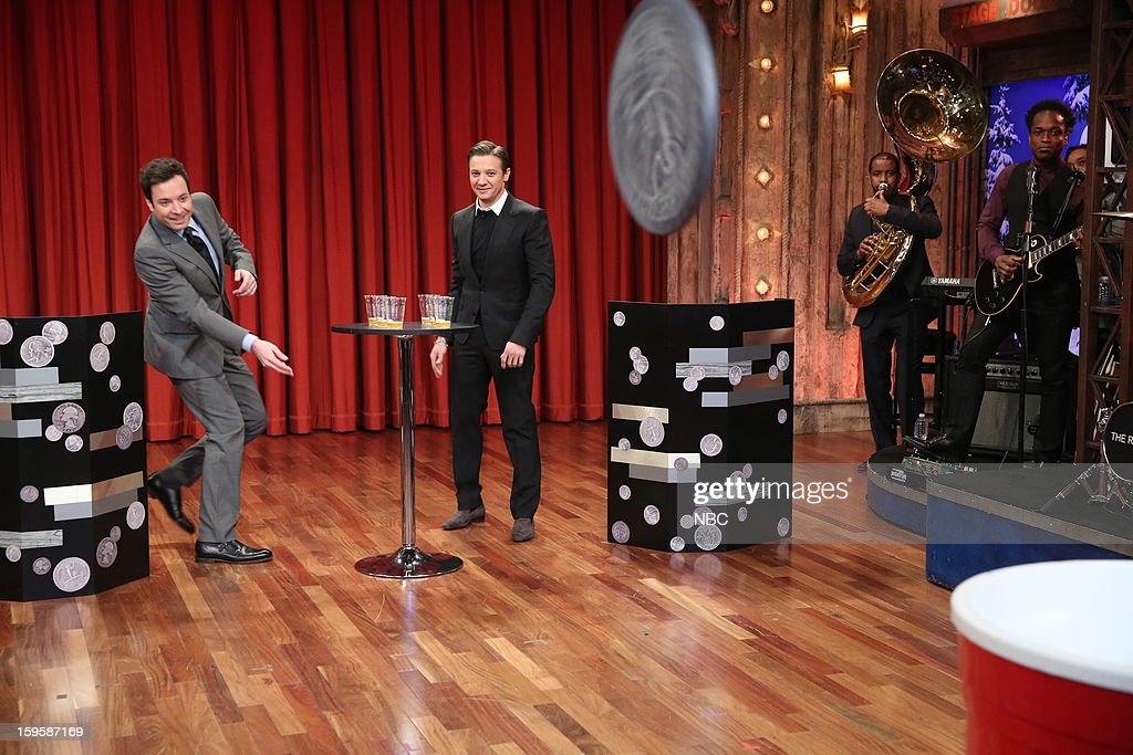 Host Jimmy Fallon with Jeremy Renner during a skit on January 16, 2012 --