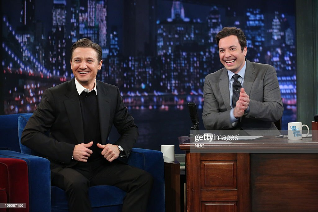 <a gi-track='captionPersonalityLinkClicked' href=/galleries/search?phrase=Jeremy+Renner&family=editorial&specificpeople=708701 ng-click='$event.stopPropagation()'>Jeremy Renner</a> during an interview with host <a gi-track='captionPersonalityLinkClicked' href=/galleries/search?phrase=Jimmy+Fallon&family=editorial&specificpeople=171520 ng-click='$event.stopPropagation()'>Jimmy Fallon</a> on January 16, 2012 --