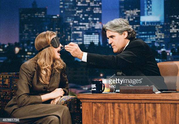 Model Bridget Hall during an interview with host Jay Leno on September 14 1995