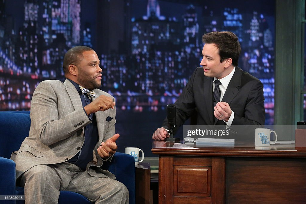 <a gi-track='captionPersonalityLinkClicked' href=/galleries/search?phrase=Anthony+Anderson&family=editorial&specificpeople=202577 ng-click='$event.stopPropagation()'>Anthony Anderson</a> with host <a gi-track='captionPersonalityLinkClicked' href=/galleries/search?phrase=Jimmy+Fallon&family=editorial&specificpeople=171520 ng-click='$event.stopPropagation()'>Jimmy Fallon</a> during an interview on February 21, 2013 --