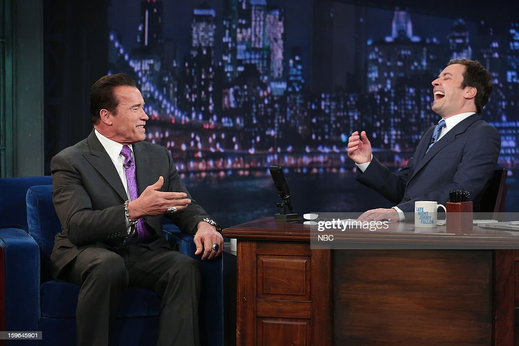 Arnold Schwarzenegger with host Jimmy Fallon during an interview on January 17, 2013 --