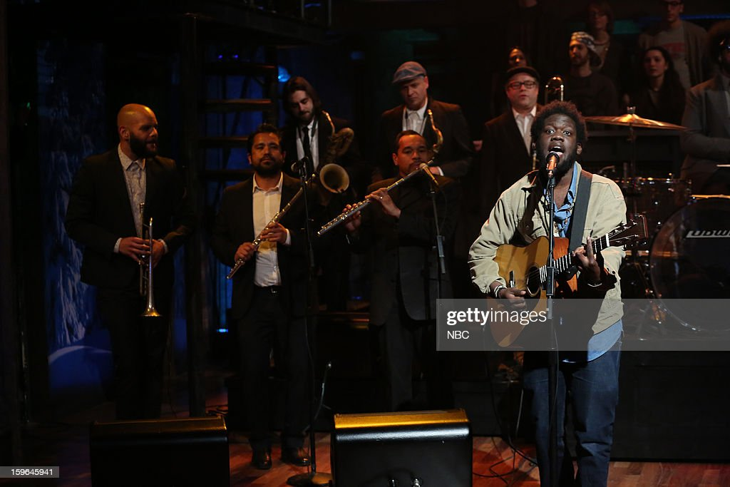 Musical guest <a gi-track='captionPersonalityLinkClicked' href=/galleries/search?phrase=Michael+Kiwanuka&family=editorial&specificpeople=7117291 ng-click='$event.stopPropagation()'>Michael Kiwanuka</a> on January 17, 2013 --
