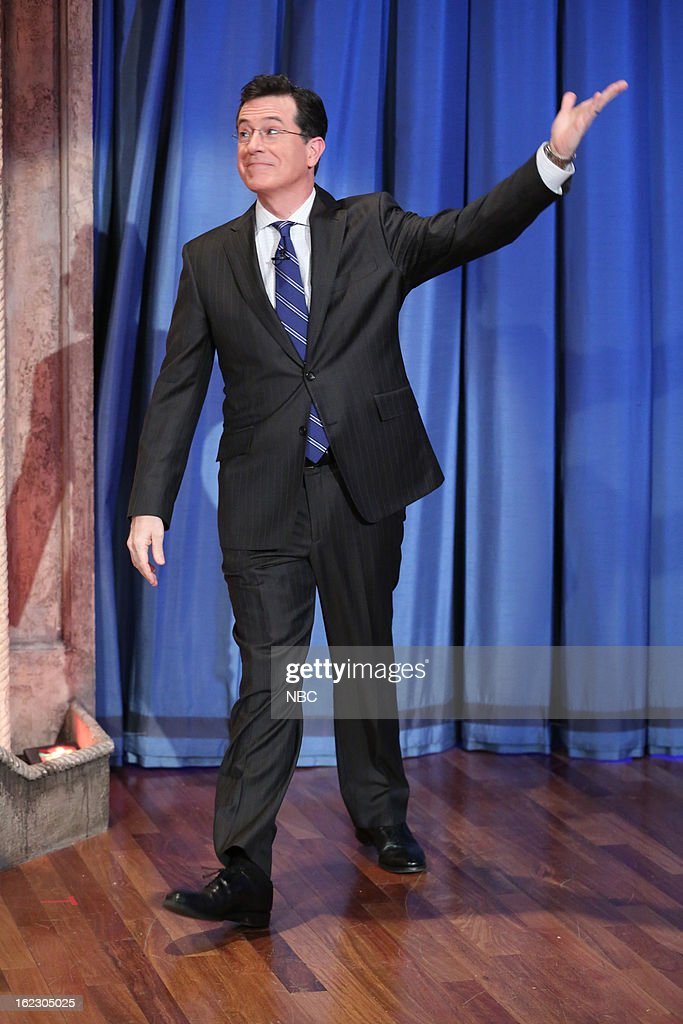 <a gi-track='captionPersonalityLinkClicked' href=/galleries/search?phrase=Stephen+Colbert&family=editorial&specificpeople=215133 ng-click='$event.stopPropagation()'>Stephen Colbert</a> arrives on February 21, 2013 --