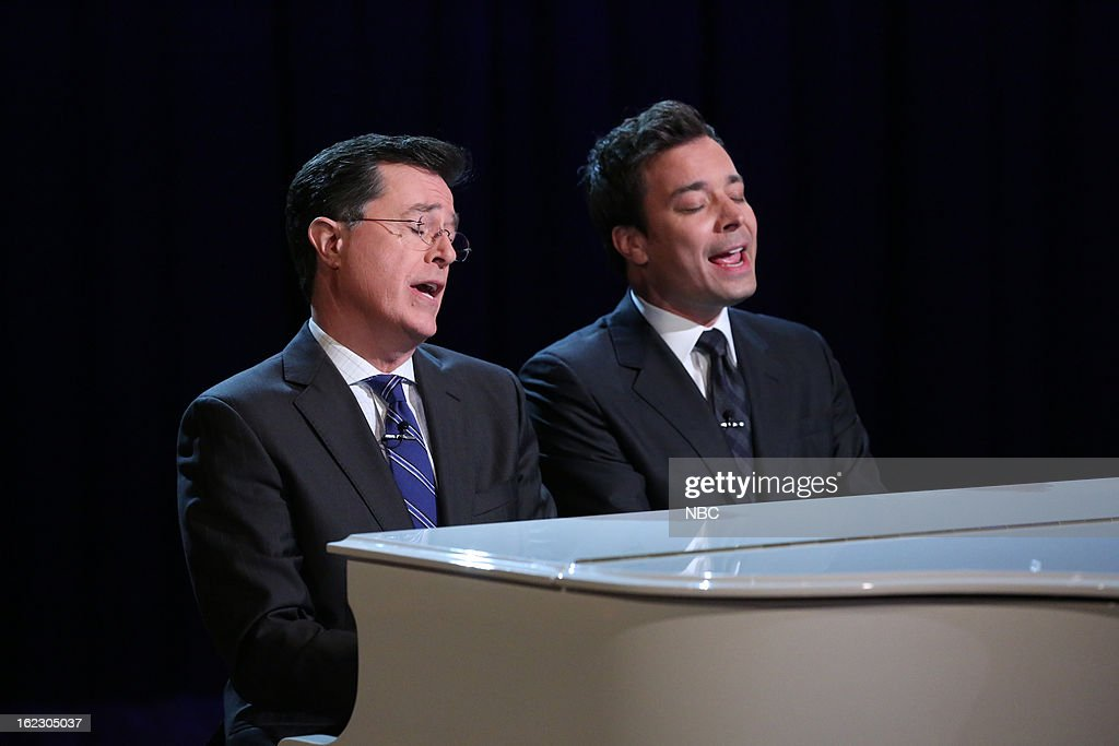 <a gi-track='captionPersonalityLinkClicked' href=/galleries/search?phrase=Stephen+Colbert&family=editorial&specificpeople=215133 ng-click='$event.stopPropagation()'>Stephen Colbert</a> with host <a gi-track='captionPersonalityLinkClicked' href=/galleries/search?phrase=Jimmy+Fallon&family=editorial&specificpeople=171520 ng-click='$event.stopPropagation()'>Jimmy Fallon</a> during a skit on February 21, 2013 --