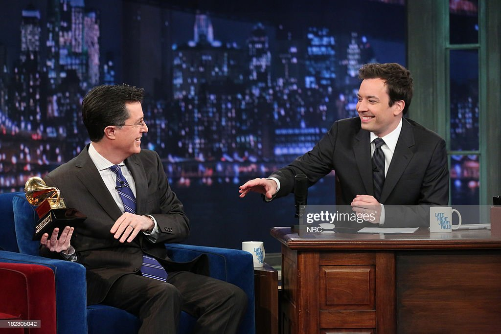 <a gi-track='captionPersonalityLinkClicked' href=/galleries/search?phrase=Stephen+Colbert&family=editorial&specificpeople=215133 ng-click='$event.stopPropagation()'>Stephen Colbert</a> with host <a gi-track='captionPersonalityLinkClicked' href=/galleries/search?phrase=Jimmy+Fallon&family=editorial&specificpeople=171520 ng-click='$event.stopPropagation()'>Jimmy Fallon</a> during an interview on February 21, 2013 --