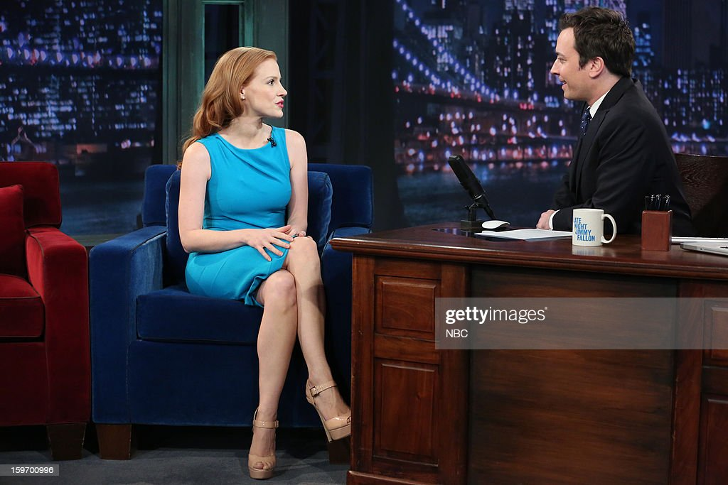 Jessica Chastain with host Jimmy Fallon during an interview on January 18, 2013 --