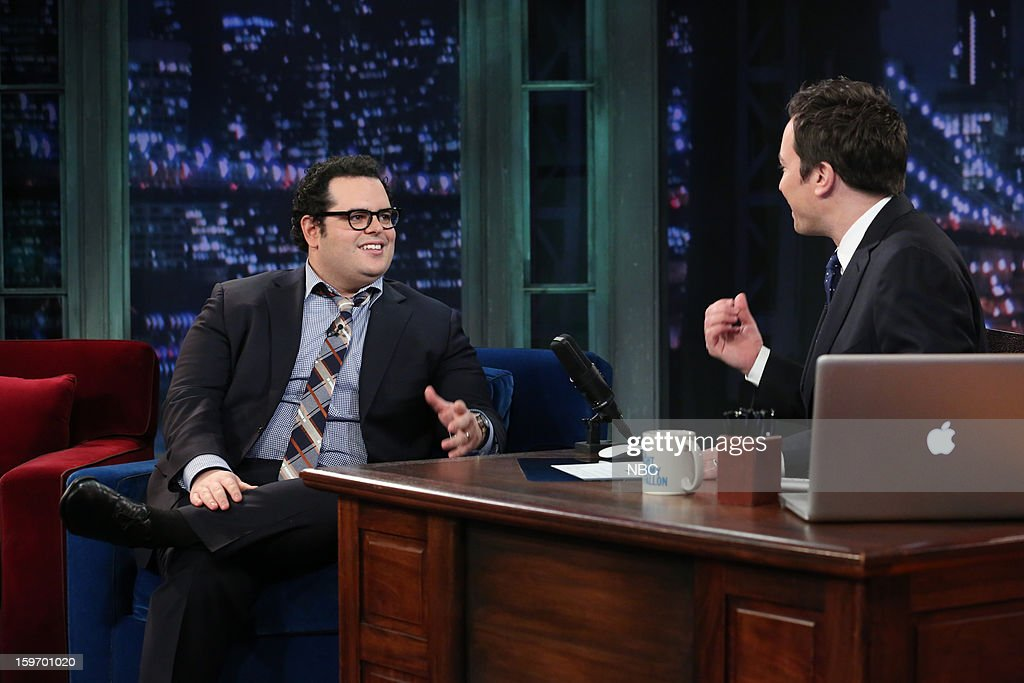 Josh Gad with host Jimmy Fallon during an interview on January 18, 2013 --
