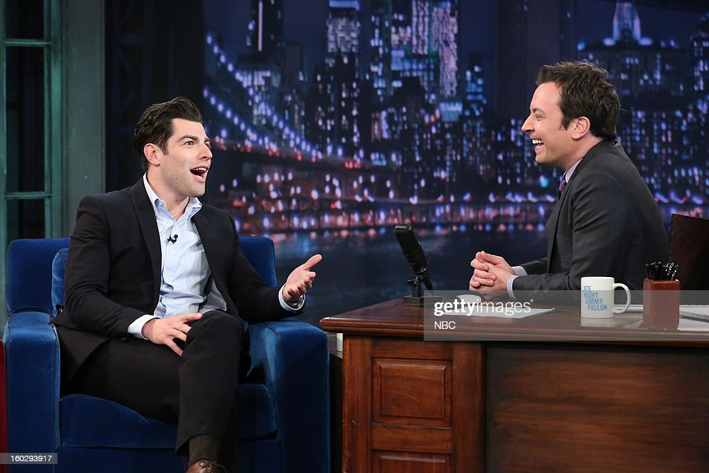 Actor Max Greenfield during an interview with host Jimmy Fallon on January 29, 2013 --