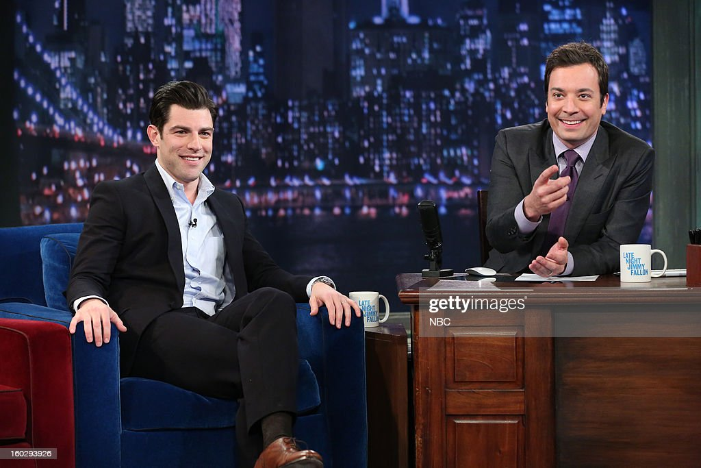 Actor <a gi-track='captionPersonalityLinkClicked' href=/galleries/search?phrase=Max+Greenfield&family=editorial&specificpeople=599135 ng-click='$event.stopPropagation()'>Max Greenfield</a> during an interview with host <a gi-track='captionPersonalityLinkClicked' href=/galleries/search?phrase=Jimmy+Fallon&family=editorial&specificpeople=171520 ng-click='$event.stopPropagation()'>Jimmy Fallon</a> on January 29, 2013 --