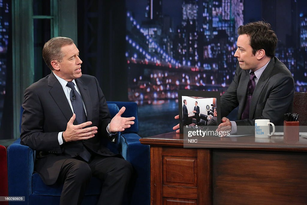 News anchor <a gi-track='captionPersonalityLinkClicked' href=/galleries/search?phrase=Brian+Williams+-+News+Anchor&family=editorial&specificpeople=206917 ng-click='$event.stopPropagation()'>Brian Williams</a> during an interview with host <a gi-track='captionPersonalityLinkClicked' href=/galleries/search?phrase=Jimmy+Fallon&family=editorial&specificpeople=171520 ng-click='$event.stopPropagation()'>Jimmy Fallon</a> on January 29, 2013 --