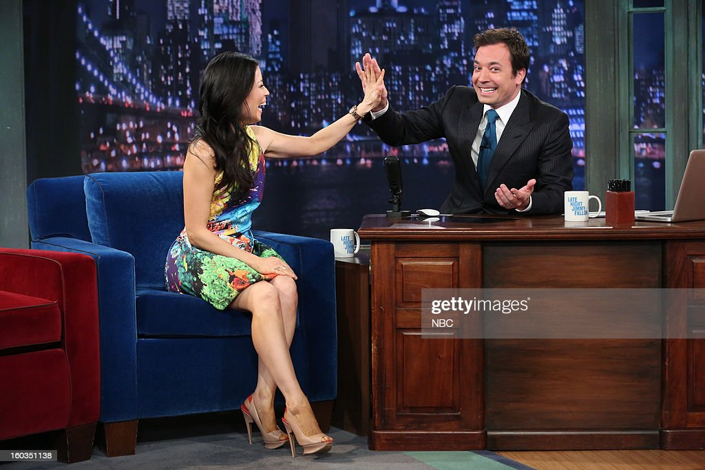 Actress <a gi-track='captionPersonalityLinkClicked' href=/galleries/search?phrase=Lucy+Liu&family=editorial&specificpeople=201874 ng-click='$event.stopPropagation()'>Lucy Liu</a> during an interview with hos Jimmy Fallon on January 29, 2013 --