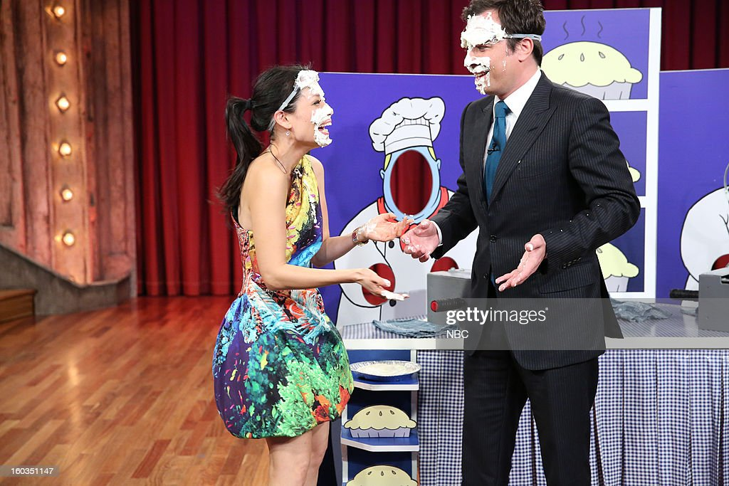 Actress <a gi-track='captionPersonalityLinkClicked' href=/galleries/search?phrase=Lucy+Liu&family=editorial&specificpeople=201874 ng-click='$event.stopPropagation()'>Lucy Liu</a>, Host <a gi-track='captionPersonalityLinkClicked' href=/galleries/search?phrase=Jimmy+Fallon&family=editorial&specificpeople=171520 ng-click='$event.stopPropagation()'>Jimmy Fallon</a> during a segment on January 29, 2013 --