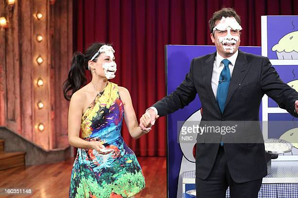 Actress Lucy Liu Host Jimmy Fallon during a segment on January 29 2013