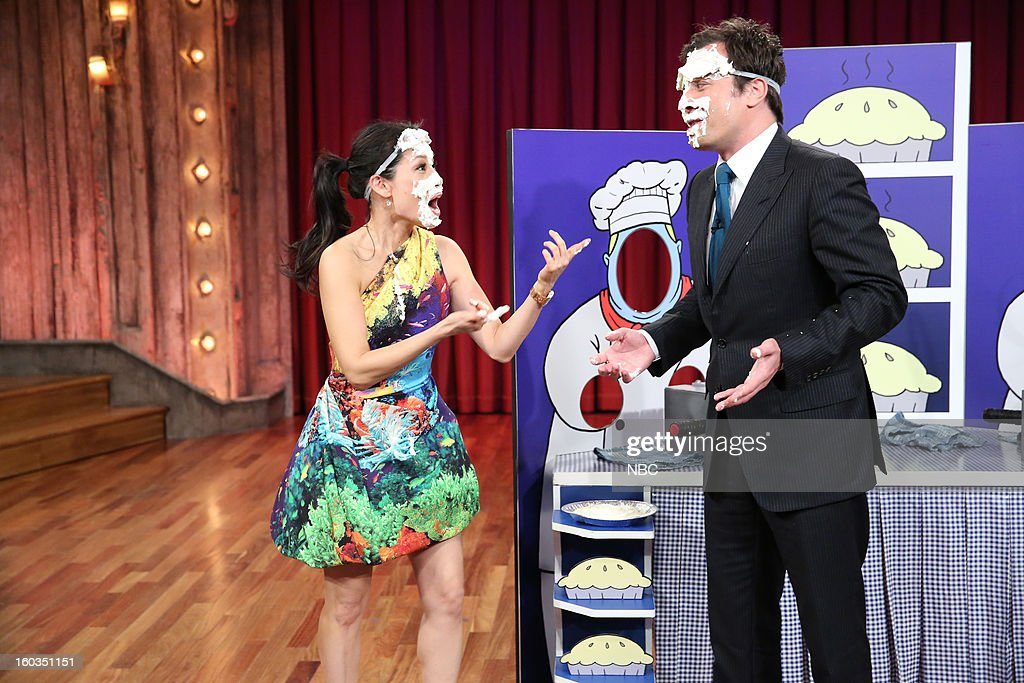 Actress Lucy Liu, Host Jimmy Fallon during a segment on January 29, 2013 --