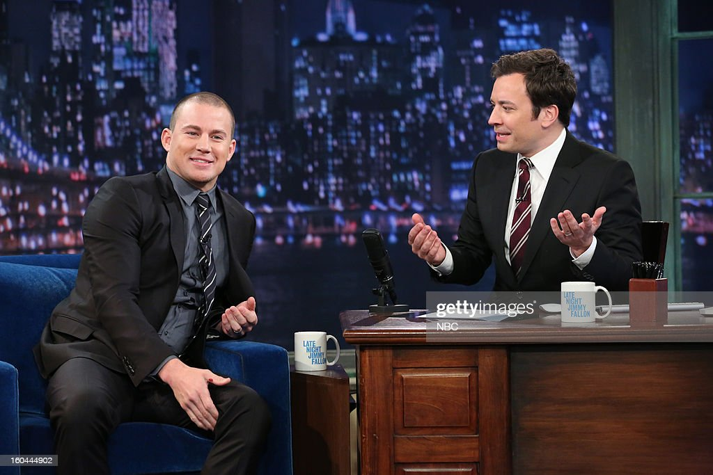 Actor Channing Tatum, host Jimmy Fallon during an interview on January 31, 2013 --