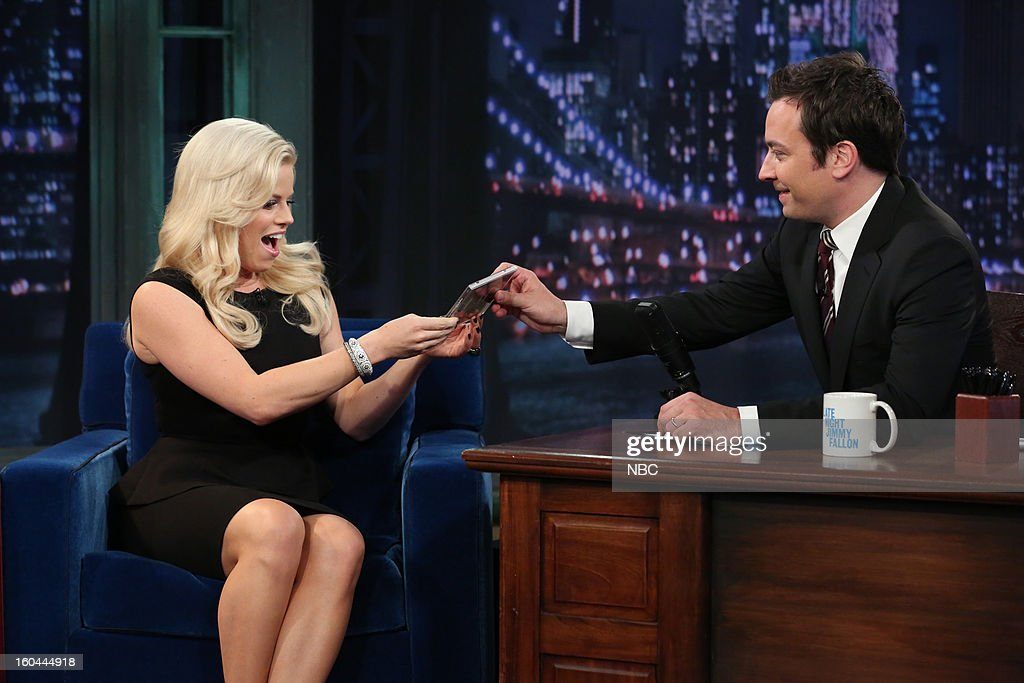 Actress/singer <a gi-track='captionPersonalityLinkClicked' href=/galleries/search?phrase=Megan+Hilty&family=editorial&specificpeople=602492 ng-click='$event.stopPropagation()'>Megan Hilty</a>, host <a gi-track='captionPersonalityLinkClicked' href=/galleries/search?phrase=Jimmy+Fallon&family=editorial&specificpeople=171520 ng-click='$event.stopPropagation()'>Jimmy Fallon</a> during an interview on January 31, 2013 --