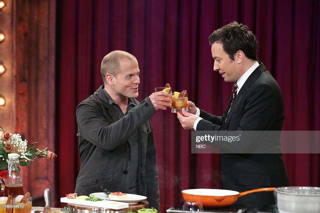 Entrepreneur Tim Ferriss, host <a gi-track='captionPersonalityLinkClicked' href=/galleries/search?phrase=Jimmy+Fallon&family=editorial&specificpeople=171520 ng-click='$event.stopPropagation()'>Jimmy Fallon</a> during an interview and cooking segment on January 31, 2013 --