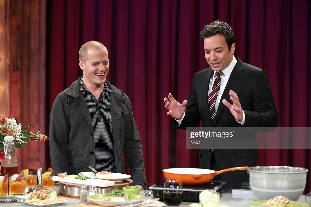 Entrepreneur Tim Ferriss, host Jimmy Fallon during an interview and cooking segment on January 31, 2013 --