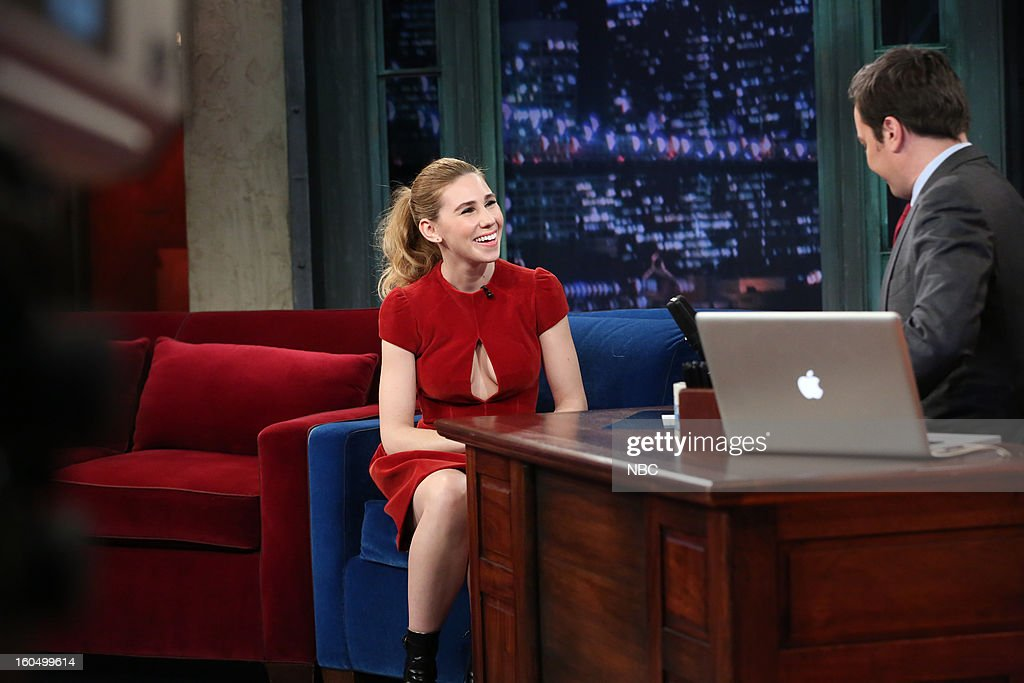 Actress Zosia Mamet, host Jimmy Fallon during an interview on February 1, 2013 --