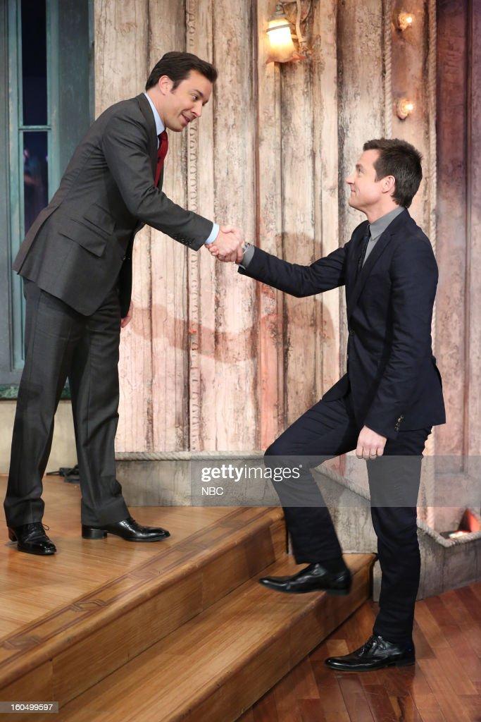 Host Jimmy Fallon, actor Jason Bateman on February 1, 2013--