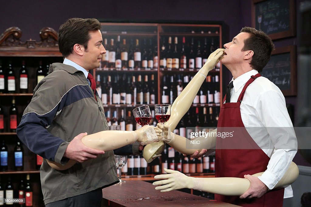 Jimmy Fallon, <a gi-track='captionPersonalityLinkClicked' href=/galleries/search?phrase=Jason+Bateman&family=editorial&specificpeople=204774 ng-click='$event.stopPropagation()'>Jason Bateman</a> during a skit on February 1, 2013--