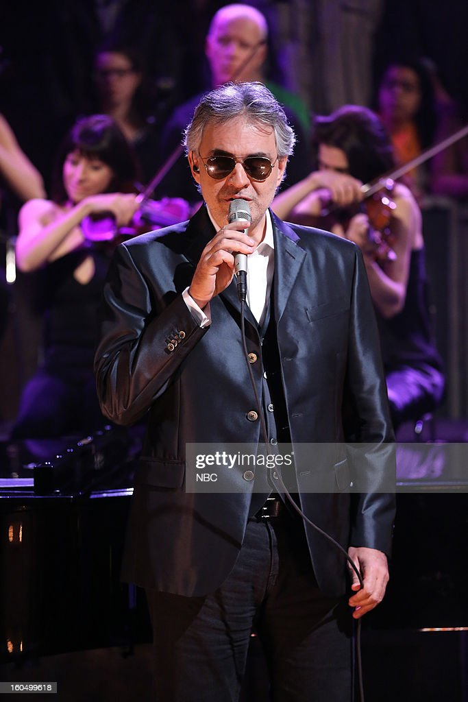 Singer <a gi-track='captionPersonalityLinkClicked' href=/galleries/search?phrase=Andrea+Bocelli&family=editorial&specificpeople=211558 ng-click='$event.stopPropagation()'>Andrea Bocelli</a> performing on February 1, 2013--