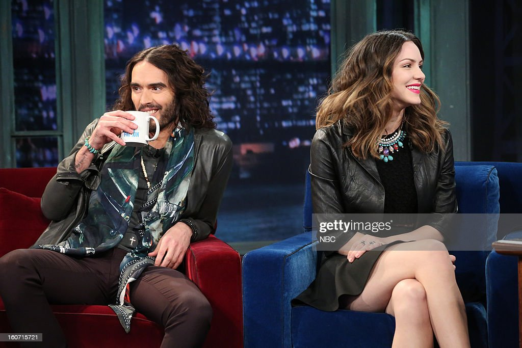 Actor <a gi-track='captionPersonalityLinkClicked' href=/galleries/search?phrase=Russell+Brand&family=editorial&specificpeople=536593 ng-click='$event.stopPropagation()'>Russell Brand</a> and Actress <a gi-track='captionPersonalityLinkClicked' href=/galleries/search?phrase=Katharine+McPhee&family=editorial&specificpeople=581492 ng-click='$event.stopPropagation()'>Katharine McPhee</a> on February 4, 2013 --