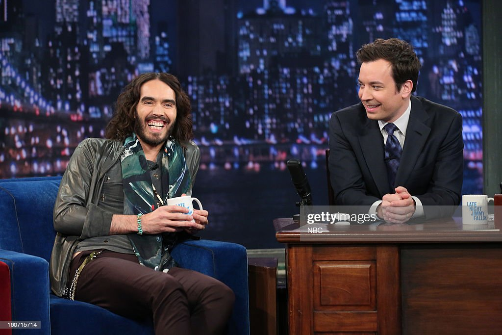 Actor <a gi-track='captionPersonalityLinkClicked' href=/galleries/search?phrase=Russell+Brand&family=editorial&specificpeople=536593 ng-click='$event.stopPropagation()'>Russell Brand</a> with host <a gi-track='captionPersonalityLinkClicked' href=/galleries/search?phrase=Jimmy+Fallon&family=editorial&specificpeople=171520 ng-click='$event.stopPropagation()'>Jimmy Fallon</a> during an interview on February 4, 2013 --