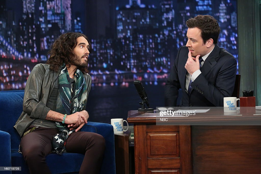 Actor Russell Brand with host Jimmy Fallon during an interview on February 4, 2013 --