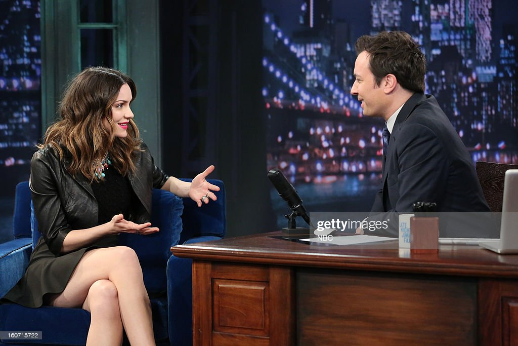 Actress <a gi-track='captionPersonalityLinkClicked' href=/galleries/search?phrase=Katharine+McPhee&family=editorial&specificpeople=581492 ng-click='$event.stopPropagation()'>Katharine McPhee</a> during an interview with host <a gi-track='captionPersonalityLinkClicked' href=/galleries/search?phrase=Jimmy+Fallon&family=editorial&specificpeople=171520 ng-click='$event.stopPropagation()'>Jimmy Fallon</a> on February 4, 2013 --