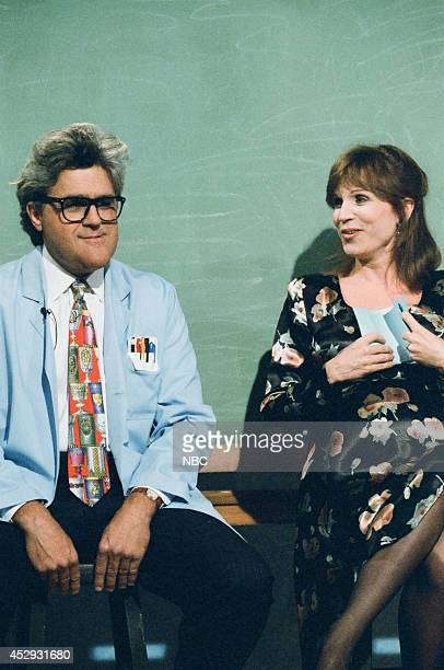 Host Jay Leno and actress Marilu Henner during the 'Mr Brain' skit on September 28 1995