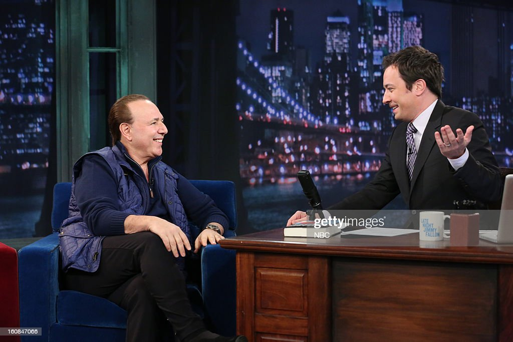 Music executive <a gi-track='captionPersonalityLinkClicked' href=/galleries/search?phrase=Tommy+Mottola&family=editorial&specificpeople=239164 ng-click='$event.stopPropagation()'>Tommy Mottola</a> with host <a gi-track='captionPersonalityLinkClicked' href=/galleries/search?phrase=Jimmy+Fallon&family=editorial&specificpeople=171520 ng-click='$event.stopPropagation()'>Jimmy Fallon</a> during an interview on February 6, 2013 --