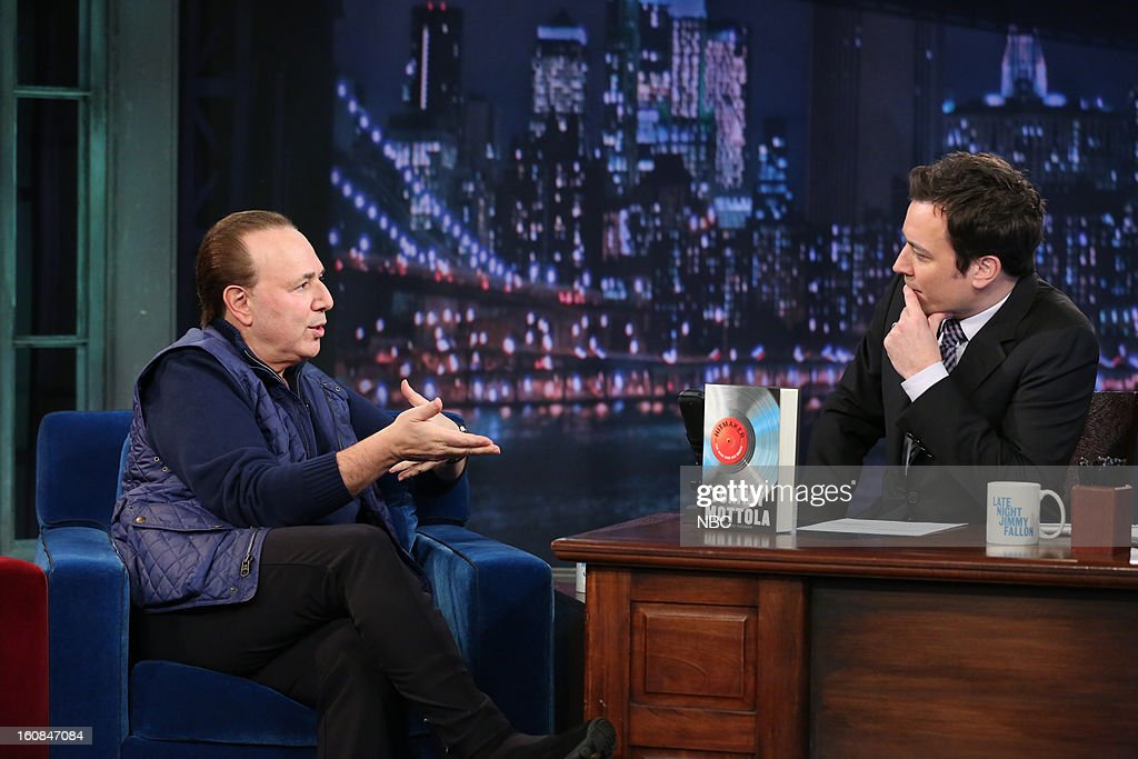 Music executive Tommy Mottola with host Jimmy Fallon during an interview on February 6, 2013 --