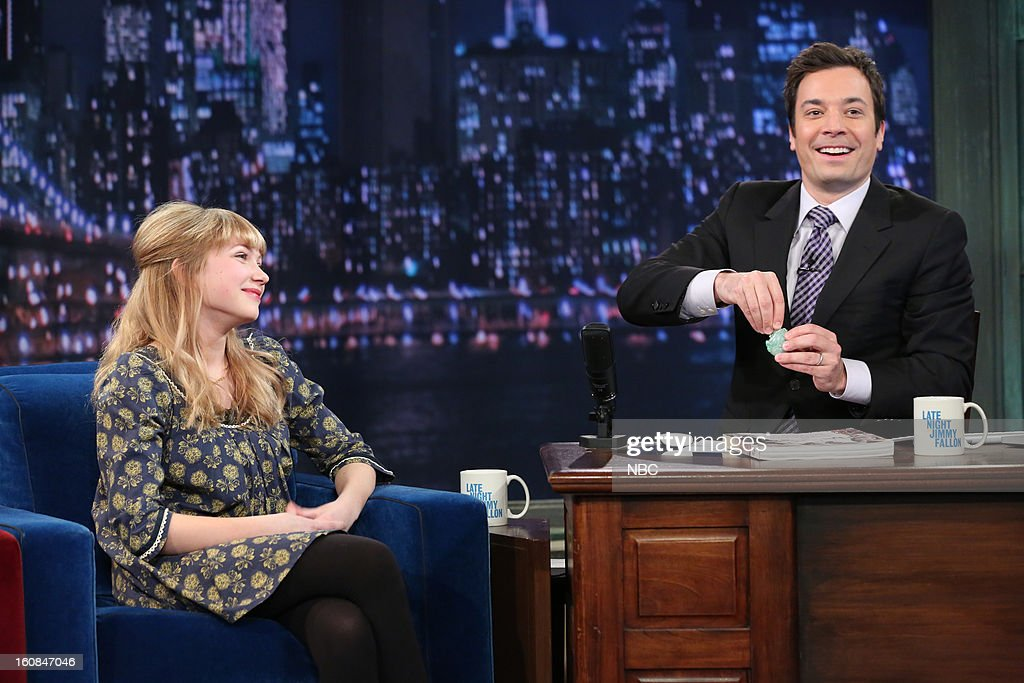 Rookie Magazine's Tavi Gevinson with host Jimmy Fallon during an interview on February 6, 2013 --